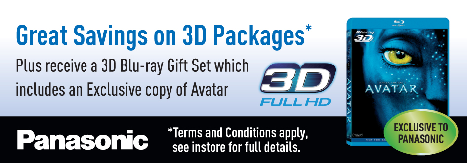 Pansonic 3D TV Package Savings + Free Avatar 3D Blu Ray