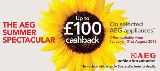 AEG Appliances Summer Cashback Promotion - Up To £100!