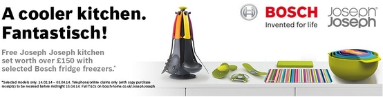 Bosch Fridge Freezer Promotion - Free Joseph Joseph Kitchen Set!