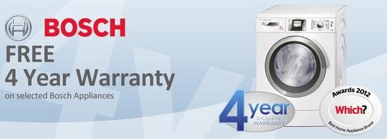 Bosch home appliances 4 year warranty promotion