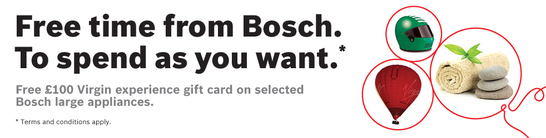 Bosch Kitchen Appliances - Free Virgin Experience Gift Card!