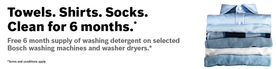 Bosch Washing Machine and Washer Dryer Promotion - 6 Months Free Detergent!
