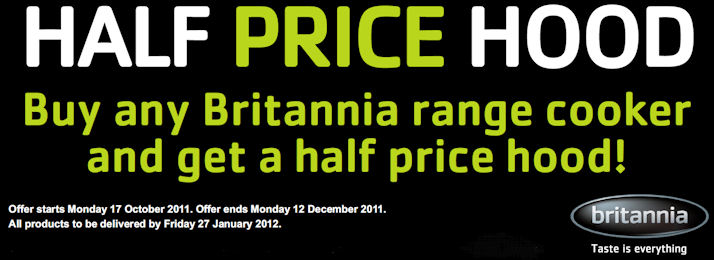 Britannia Range Cooker Promotion Half Price Cooker Hood