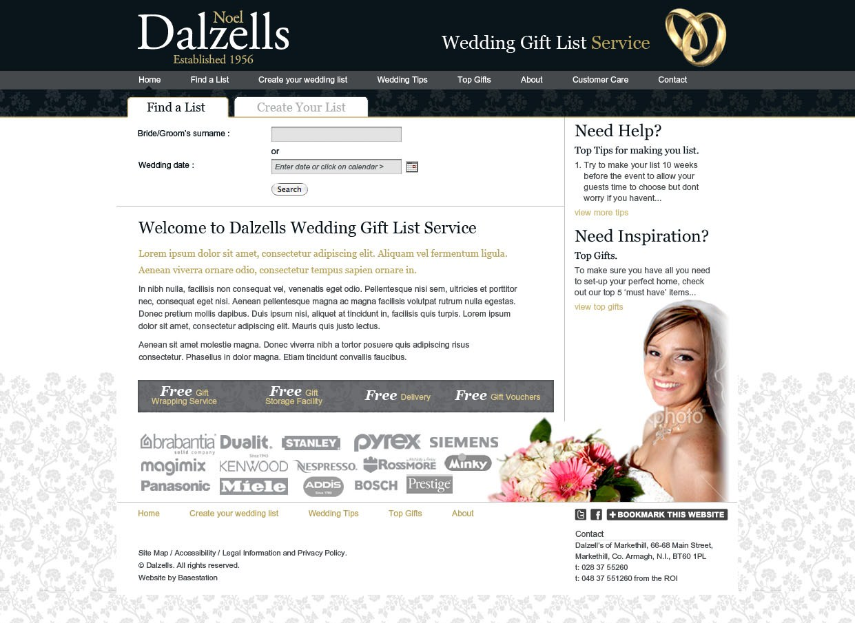 Dalzells Online Wedding Gift List Service