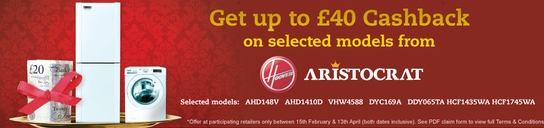 Hoover Aristocrat Promotion - Up To £40 Cashback