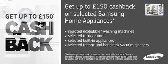 Samsung Kitchen Appliances Cashback Promotion - Up To £150!