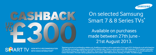 Samsung Smart TVs Cashback Promotion - Series 7 & 8