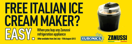 Zanussi Refirgerator Promotion - Free Italian Ice Cream Maker