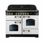 Rangemaster CDL110ECWH/B - 110cm Classic Deluxe Electric Ceramic White/Brass Range Cooker 114160