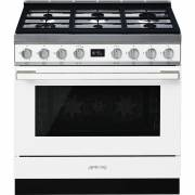 Smeg CPF9GPWH - 90cm Portofino Aesthetic Cooker with Pyrolytic Multifunction Oven and Gas Hob