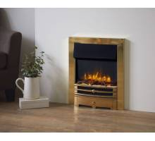 Gazco Logic2 Electric Chartwell Fire with brass frame and front