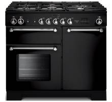 Rangemaster  KCH100DFFBL/C - 100cm Kitchener Dual Fuel Black/Chrome Range Cooker 98790