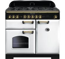 Rangemaster CDL100DFFWH/B - 100cm Classic Deluxe Dual Fuel White/Brass Range Cooker 113860