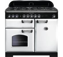 Rangemaster CDL100DFFWH/C - 100cm Classic Deluxe Dual Fuel White/Chrome Range Cooker 113850