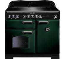Rangemaster CDL100EIRG/C - 100cm Classic Deluxe Electric Induction Racing Green/Chrome Range Cooker 113990