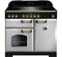 Rangemaster CDL100EIRP/B - 100cm Classic Deluxe Electric Induction Royal Pearl/Brass Range Cooker 114840
