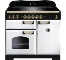Rangemaster CDL100EIWH/B - 100cm Classic Deluxe Electric Induction White/Brass Range Cooker 114040