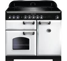Rangemaster CDL100EIWH/C - 100cm Classic Deluxe Electric Induction White/Chrome Range Cooker 114030