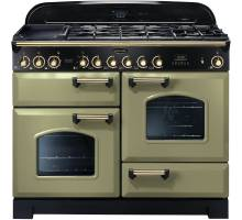 Rangemaster CDL110DFFOG/B - 110cm Classic Deluxe Dual Fuel Olive Green/Brass Range Cooker 114470