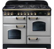 Rangemaster CDL110DFFRP/B - 110cm Classic Deluxe Dual Fuel Royal Pearl/Brass Range Cooker 114480