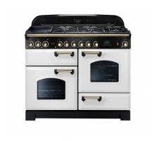 Rangemaster CDL110DFFWH/B - 110cm Classic Deluxe Dual Fuel White/Brass Range Cooker 112940