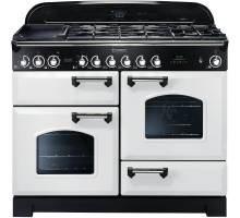 Rangemaster CDL110DFFWH/C - 110cm Classic Deluxe Dual Fuel White/Chrome Range Cooker 112930