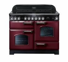 Rangemaster CDL110ECCYC 110cm Classic Deluxe Electric Ceramic Cranberry Chrome Range Cooker 84440