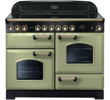 Rangemaster CDL110ECOG/B - 110cm Classic Deluxe Electric Ceramic Olive Green/Brass Range Cooker 114590