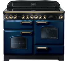 Rangemaster CDL110ECRB/B - 110cm Classic Deluxe Electric Ceramic Regal Blue/Brass Range Cooker 114140
