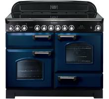 Rangemaster CDL110ECRB/C - 110cm Classic Deluxe Electric Ceramic Regal Blue/Chrome Range Cooker 114130