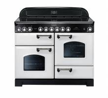 Rangemaster CDL110ECWHC - 110cm Classic Deluxe Electric Ceramic White Chrome Range Cooker 114150