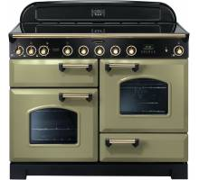 Rangemaster CDL110EIOG/B - 110cm Classic Deluxe Electric Induction Olive Green/Brass Range Cooker 114550