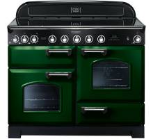 Rangemaster CDL110EIRG/C - 110cm Classic Deluxe Electric Induction Racing Green/Chrome Range Cooker 113070