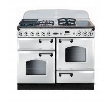 Rangemaster CLBS110NGFWHC 110cm Classic Natural Gas All White Chrome Range Cooker 73670