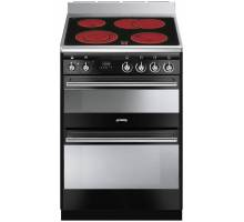 Smeg Concert SUK62CBL8 Ceramic Double Cavity Range Cooker - Gloss Black