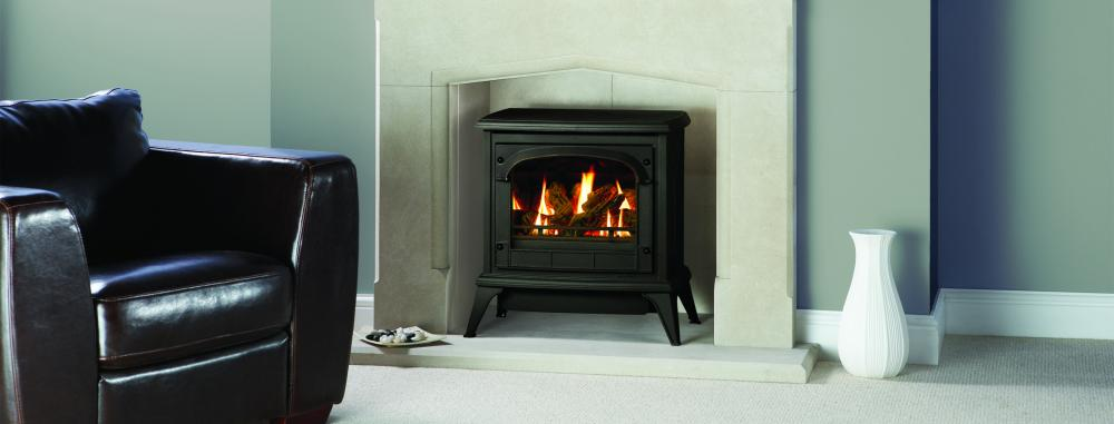 Gas Clarendon in Black with clear glass & log effect fire