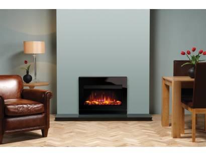 Gazco Riva2 670 Electric Designio2 Steel Fire - Black Glass